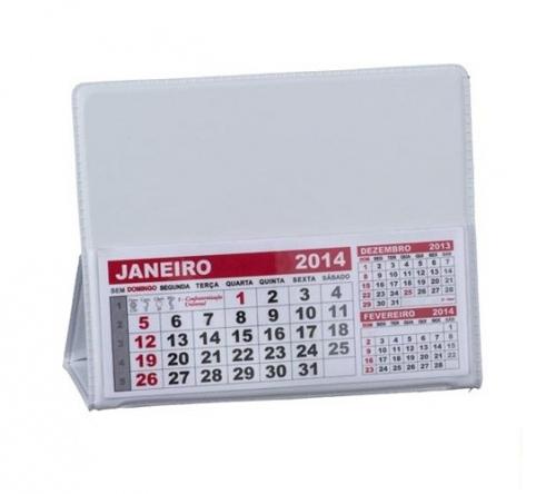 Brinde calendário de mesa em PVC branco - FBCL-0040L