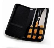 Cozinha e afins Kit churrasco personalizado Brinde conjunto de facas em inox e bambu FBPB-00123