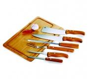 Cozinha e afins Kit churrasco personalizado Brinde conjunto para churrasco em bambu FBMB-04553