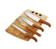 Brinde conjunto para churrasco em bambu e inox 5 pçs FBMB-21663