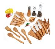 Brinde kit gourmet em bambu/vidro/inox FBKT-00203
