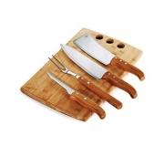 Cozinha e afins Kit churrasco personalizado Brinde kit para churrasco em bambu 5 pçs FBMB-21543