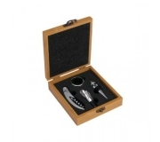 Cozinha e afins Kit vinho personalizado Brinde kit vinho em bambu com 5 pçs - FBPV-00813
