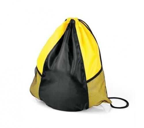 e36db2e63 Brinde mochila sacola preta e amarela em nylon FBMA-03446 - Flic Brindes