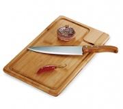 Cozinha e afins Kit churrasco personalizado Conjunto para churrasco em bambu e inox FBMB-04083