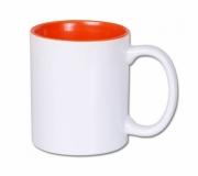 Brinde caneca em cerâmica personalizada interior laranja, FBCA-00340LR