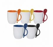 Cozinha e afins Canecas personalizadas Brinde caneca branca com colher e interior colorido FBCA-051120