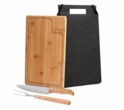 Cozinha e afins Kit churrasco personalizado Brinde conjunto para churrasco em bambu e inox  FBMB-04093